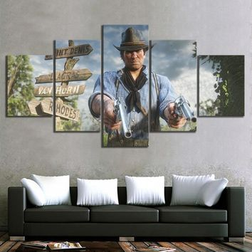 5 Piece Canvas Paintings Red Dead Redemption 2 Video Games Poster Landscape Wall Paintings for Home Decor