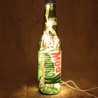 Soda Bottle Light, Upcycled Mountain Dew Soda Bottle, Decor for Mancave, Bar Lighting, Home Decor