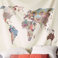 Colorful Map Boho Fabric Wall Tapestry