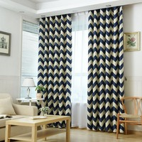 Curtains for Bedroom Mediterranean Style Window Decoration Striped Pattern Blackout Living Room Curtains Single Panel (A326)