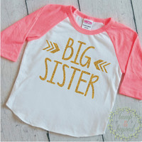 Big Sister Shirt Pregnancy Announcement Shirt Baby Girl Sibling Shirts New Baby Announcement Shirt Big Sister Toddler Raglan 015