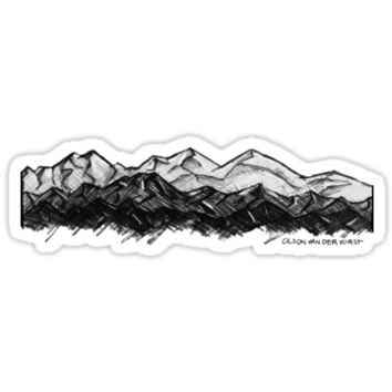 'Mountain Sketch- Detail' Sticker by Noble Bison