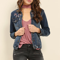 Floral Emroidery Denim Jacket