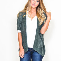 Heather Green Open Cardigan