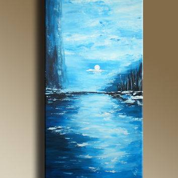 Original Abstract Painting Ocean Seascape on canvas of Blue Moonlight Ready to hang FREE SHIPPING