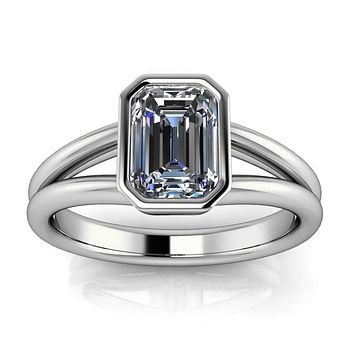 Bezel Set Emerald Cut Moissanite Solitaire Engagement RIng - Levi
