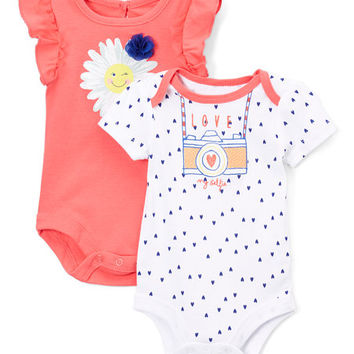 Red Daisy Angel-Sleeve Bodysuit Set - Infant