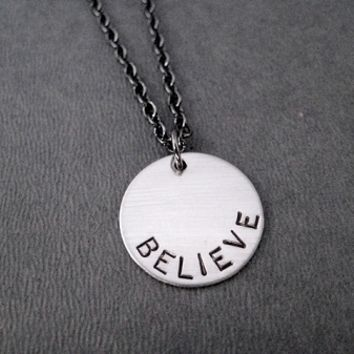 BELIEVE Necklace - Nickel pendant priced with Gunmetal chain