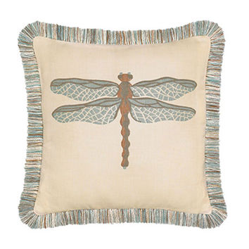 Aqua Dragonfly Pillow - Elaine Smith