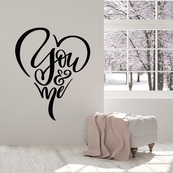 Vinyl Wall Decal Quote Words Love You And I Bedroom Decor Stickers (2800ig)