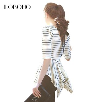 Korean Style Women Tops Fashion 2017 New Arrival Ladies White And Black Striped Backless Bow Slim Fit Summer Blouses Peplum Tops