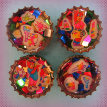 Upcycled Resin Bottle Cap Magnets LF Bears Mouse Paint Rainbow Stars Handmade Recycled Reclaimed Repurposed Eco Friendly Ceramic Magnet