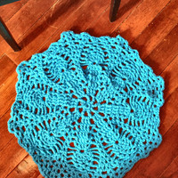 "Thick and Soft Crochet 29"" Round Pineapple Doily Area Rug (shown in Teal Blue) Many Color Choices Soft Handmade Mat Housewares"