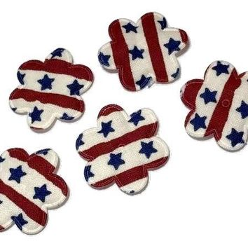 "Red, white & blue 4th of July flower 1 1/8"" padded appliqué"