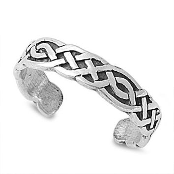 Sterling Silver Wicca Weave 4MM  Toe Ring/ Knuckle/ Mid-Finger