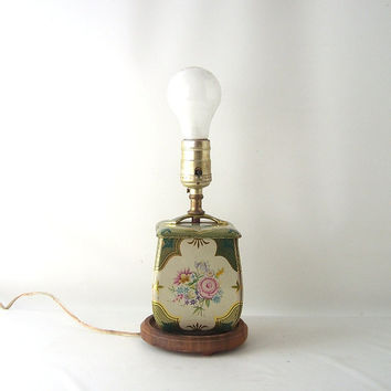 vintage tin box lamp green gold floral light lighting flowers decorative home decor mid century modern retro small short table lamp accent