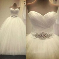 Sleeveless Ivory Bridal Wedding Dress with Crystal Sash Custom Size 0 2 4 6 8 10