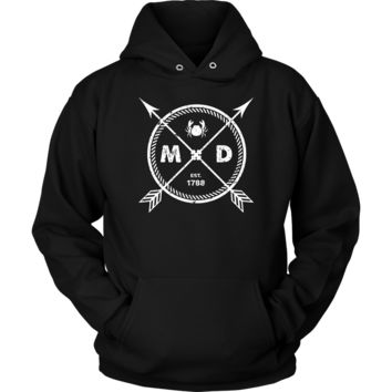 Maryland Pride Hoodie - Est 1788 Arrows State Crab Gift