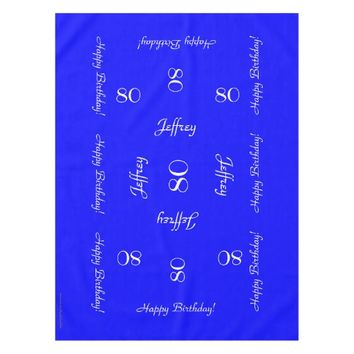 Bright Blue Personalized 80th Birthday Table Cloth