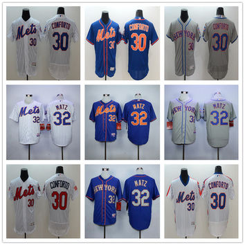 New York Mets 30 Michael Conforto Baseball Jerseys Blue White Gray Embroidery Logos 32 Steven Matz Jersey Accept Mix Orders