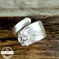Daffodil Silverplate Wrapped Spoon Ring