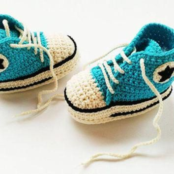MDIG91W Turquoise plus champagne crochet shoes, Crochet Converse shoes, Baby turquoise shoes,