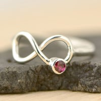 FALL SALE Infinity Birthstone Ring - Promise Ring - Birthstone Infinity Knot - Infinity Knot Jewelry - Infinity Knot Ring - Birthstone Jewe