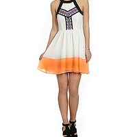 GB Embroidered Colorblock Dress - Ivory