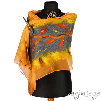 NEW! Nuno felted scarf, autumn color, merino wool, silk shawl