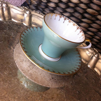 Antique Aynsley teal corset tea cup and saucer, English tea set, teacup, wedding gift