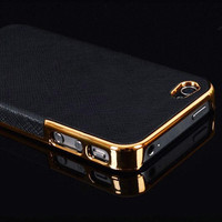 Leather Chrome Hard Back Case Cover For iPhone 5 5S Black Gold Phone Cases