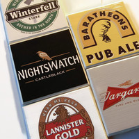 Game of Thrones Coasters Variety Pack of 5 Lannister, Nightswatch, Targaryen, Winterfell, and Baratheon (Hand Brushed Finish)