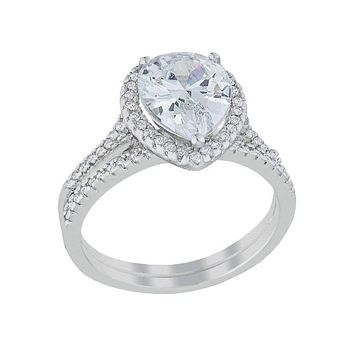 Marielle - Women's Rhodium Plated Halo Solitaire Pear Engagement Ring