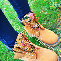 Custom Floral Gold Timberland Boots