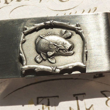Vintage Money Clip, Fish Money Clip, Silver Money Clip, Big Moth Bass, Vintage Accessory (1221)