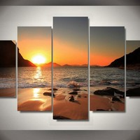 Rio Sunrise Beach Surprise 5-Piece Wall Art Canvas