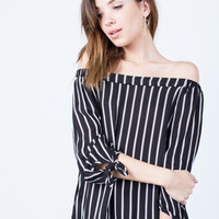 White Lines Off-the-Shoulder Top