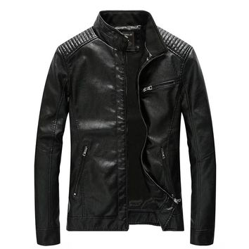 2018 New Motorcycle Bomber Leather Jackets Men Autumn Winter Faux Leather Jacket Men Outwear Male Business Casual Coats 4XL 5XL