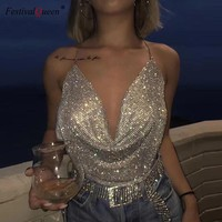 FestivalQueen brilliant rhinestone metal tank top women 2018 hot chain deep v neck backless night club solid diamond crop top