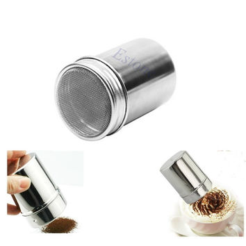 Stainless Chocolate Shaker Dredge Icing Sugar Salt Cocoa Flour Coffee Sifter Lid = 5658083649
