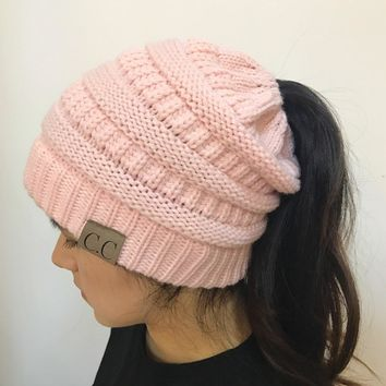 High bun Ponytail Stretchy hat
