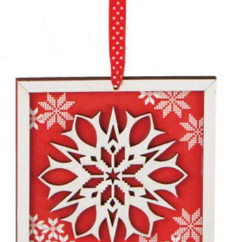 ONETOW 5' Alpine Chic Country Rustic Style Red and White Glittered Snowflake Framed Christmas Ornament
