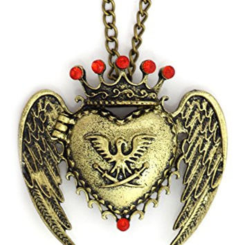Crowned Winged Heart Locket Necklace Vintage Antique Gold Tone NS12 Red Crystal Angel Fashion Pendant