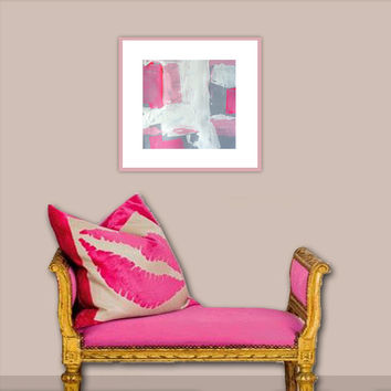 """Abstract Acrylic Painting Original Fine Art 7.5"""" x 7.5"""" by Linnea Heide - grey white - neon pink matted with white"""