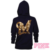 Milwaukee Brewers Victoria's Secret PINK® Bling Wide Neck Perfect Full Zip Hood