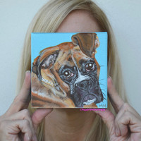 Custom Boxer painting custom pet portrait Dog portrait Dog painting Dog portraits etsy Personalized dog art Pop art pet portrait Mini pet