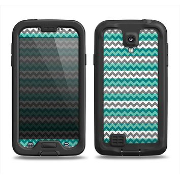 The Vintage Green & White Chevron Pattern V4 Samsung Galaxy S4 LifeProof Fre Case Skin Set
