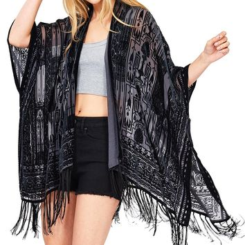 Velvet Shadow Fringe Cardigan