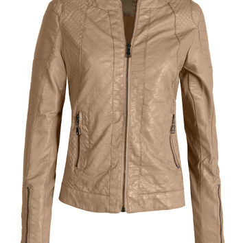 LE3NO Womens Round Neck Quilted Faux Leather Zip Up Moto Jacket with Pockets