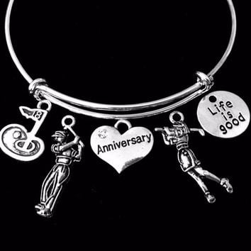 Life is Good Happy Anniversary Jewelry Golf Adjustable Bracelet Expandable Silver Charm Bangle 18th Hole Trendy One Size Fits All Wife Gift